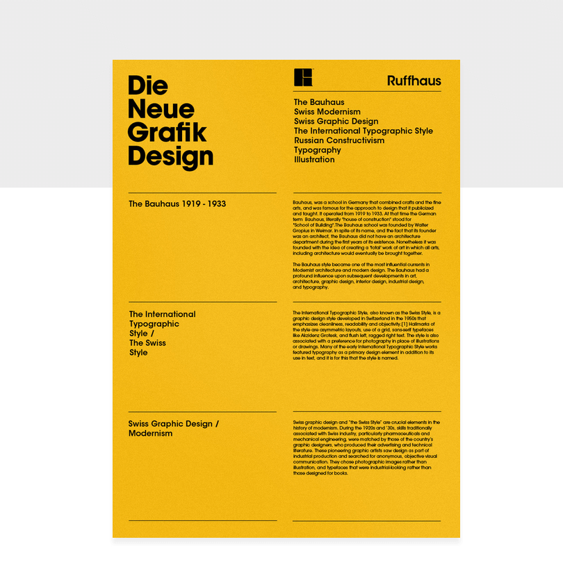 Swiss style in UI UX design - poster flush left ragged right